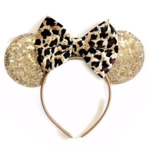 Minnie Mouse Leopard Sequin Headband with Bow